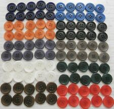 """BUTTONS 3/4"""" BULK 100 ten colors seamster alteration kid's craft school free shp"""