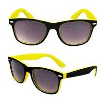 New Unisex Mens Ladies Yellow Black Sunglesses Shades Fashion Retro Vintage