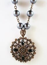 £75 Baroque Gold Black Pearl Pendant Long Necklace Swarovski Elements Crystal