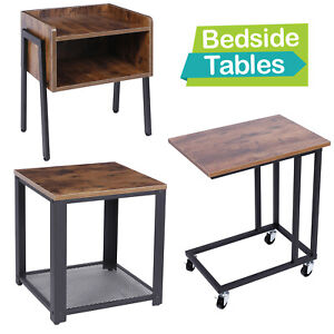 Sofa Bedside Table Industrial Bed Coffee Snack Laptop Stand Desk Storage Shelf