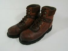 Mens Wolverine Brown Leather Steel Toe Safety Work Boots Size 10 1/2 10.5 M