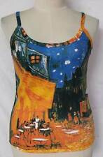 "Van Gogh Cafe Terrace at Night ART Printed Tank TOP Size L Large Armpit 17"" T806"