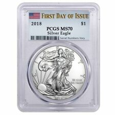 2018 1 oz Silver American Eagle $1 Coin PCGS MS 70 FS (Flag Label) First Day