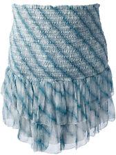 "NWOT ISABEL MARANT ""Zelia"" Smocked Mini Skirt SZ 38  Blue Ruffle Tier"