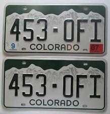 Colorado 2007 License Plate PAIR - HIGH QUALITY # 453-OFI
