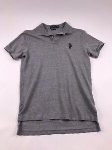 Polo Ralph Lauren Mens Medium Bear Polo Collar Shirt Size Grey Short Sleeve