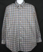 Peter Millar Shirt Mens L Long Sleeve Button Front Cotton Plaid Blue Brown White