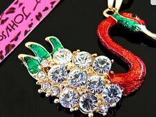 Betsey Johnson Necklace Swan Gold Red Green Enamel Crystals Bling Classy