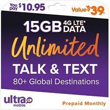 $39/M Ultra Mobile Prepaid 15Gb Lte Unlimited Talk & Text Phone Plan Sim Card