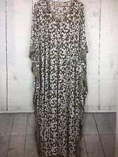 Joan Rivers Caftan Sz 3X Jeweled Neck Damask Pattern Jersey Maxi Dress Tan White