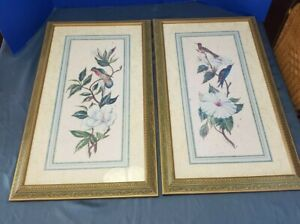 "Pair of Framed Helen Brown prints Birds and Blooms artist signed 28.5"" x 17"""