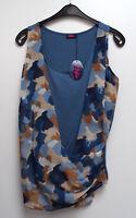 NEU Buffalo ausgefallenes Damen Long Stretch Top in Wickeloptik blau bunt Gr.40