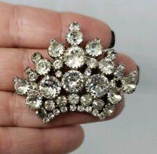 Vintage Kramer Signed Brooch Rhinestone Crown Pin