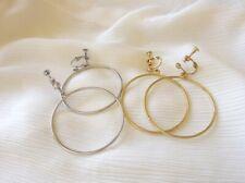 Non-Pierced Big Hoop Earrings Gold Silver Dangle Screw Back Women Girls Gift