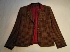 Plaid, tweed, wool blazer/ riding jacket with suede collar, vintage