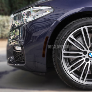 For BMW G30 5 Series Front Reflector Overlay Dark Tint / Decal Kit - Smoke Side