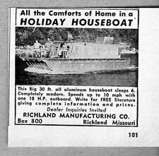 1957 Print Ad Holiday 30' All Aluminum Houseboats Richland Mfg MO