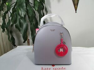 NWT Kate Spade Leather Sloan Medium Moonglow Backpack & Spade Jelly Key Fob