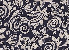 Navy Floral Printed Polyester Fabric (x 1.3 metres)
