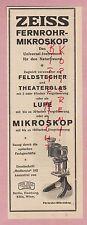 Jena, publicidad 1925, Carl Zeiss de larga distancia-tubo microskop binoculares prismáticos óptica