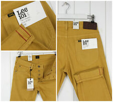 NEW LEE 101s JEANS 11oz MUSTARD/YELLOW SELVEDGE SLIM TAPERED FIT W32 L32 32X32