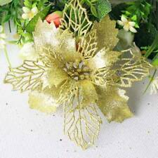 5x Christmas Tree Decorations Artificial Flowers Xmas Poinsettia Glitter Flower