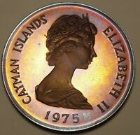 1975 CAYMAN ISLANDS SILVER ONE DOLLAR BU UNC COLOR TONED COIN