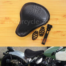 Black Alligator Leather Spring Solo Seat For Harley Softail Slim Bobber Chopper