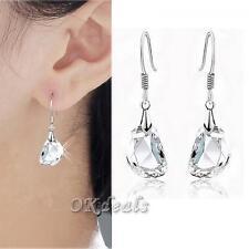 Crystal Dangle Hook Earrings Ear Stud Rhinestone Silver Plated