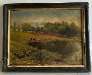 ANTIQUE LATE 19TH/EARLY 20THc FRAMED  OIL ON CARD OF A RURAL SCENE