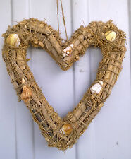 Balinese Driftwood and Shell Heart Shaped Wreath New Bali 35cm high Natural Wood
