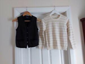 """Jumper """"C""""150 Beige Cream and Vest """"Gap""""Dark Grey Black 2 piece Size: 8/9 Years"""