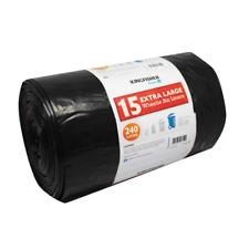 More details for black wheelie bin liners 240l heavy duty rubbish bin bags