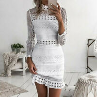 Womens Sexy Lace Bodycon Cocktail Party Pencil Midi Dress Bandage Dresses P