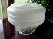 "ViNTaGe Antique RiBBeD ArT DeCo GLaSs Hanging Pendant Light Globe Shade 4""Fitter"