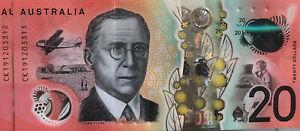 💰2019 Australian $20 2x UNC General Prefix Consecutive Serial Number Banknotes