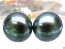 Limited time promotion Real AAA Tahitian 8-9mm black green pearl earrings 14k