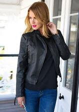 New Women's Leather Motorcycle Biker Jacket 100% Pure Soft Lambskin