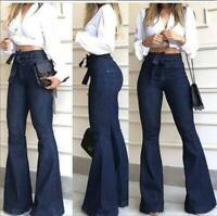 NEW Stylish Women's Long Jeans Bell-Bottom Denim Pants Lace Lady Stretch Casual