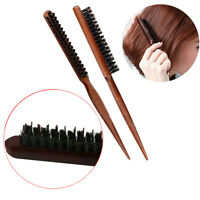24cm Natural Wood Hair Brush Comb With Wooden Boar Bristles Scalp Massage Fad UK