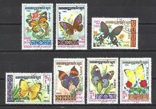 Papillons Kampuchea (33) série complète de 7 timbres oblitérés