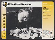 ERNEST HEMINGWAY Author Photo Bio 1994 GROLIER STORY OF AMERICA CARD