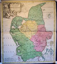 JÜTLAND - sehr schöne Landkarte Homann von 1720 altkoloriertes Original!