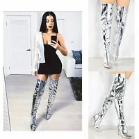 Womens  Ladies Over The Knee Thigh High Silver High Stiletto Heel Pointed Boots