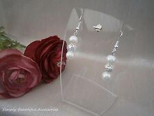 Pretty Ivory And Silver Glass Pearl Beaded Dangle Drop Pierced Earrings A Della