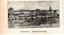 Stampa antica ISOLA PESCATORI veduta in miniatura Lago Maggiore 1905 Old print