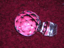 "Beautiful 3"" Large Faceted Heavy Clear Crystal Bottle Stopper - Vintage"