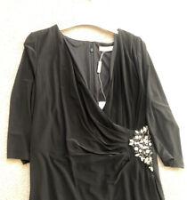 Long Maxi Black Crossover Modest Evening Dress 3/4 sleeve 14-16