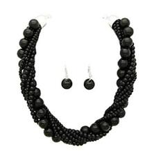 Adjustable Black Pearl Beaded Twisted Necklace W Matching Dangling Earrings