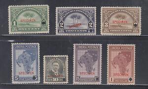 Liberia # 230-36 MNH Complete 1928 ABNCo. SPECIMEN Set Map